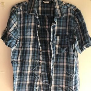 Vans navy blue flannel shirt button up size small